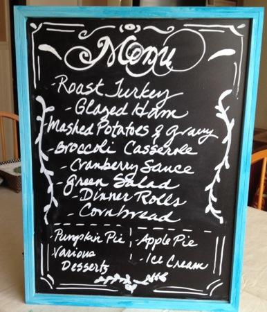 Thanksgiving chalkboard menu