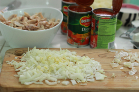 Chicken-and-pasta-bake-diced-onions-and-garlic