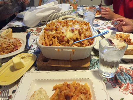 Chicken-and-pasta-bake-on-table