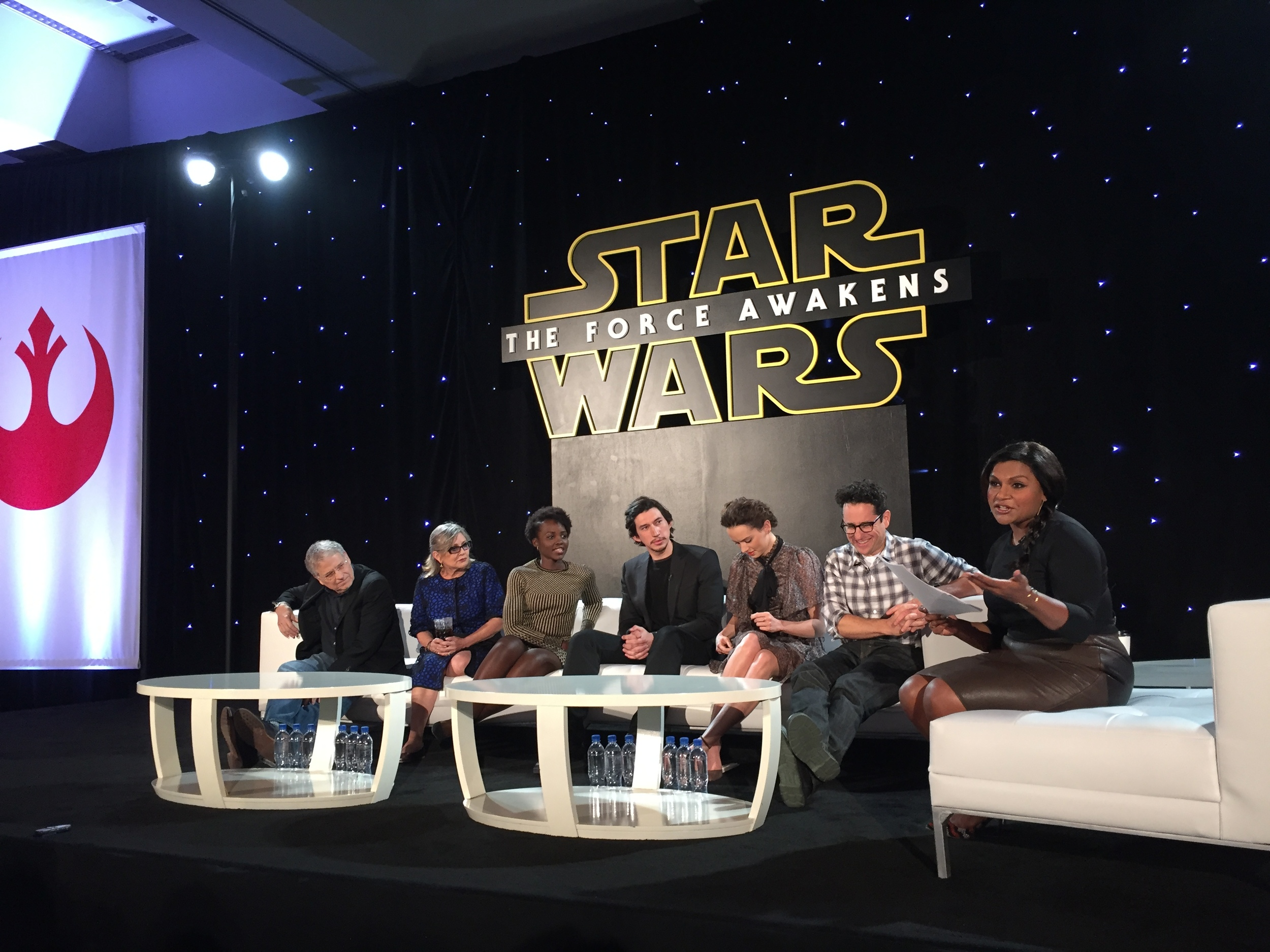L to R: Lawrence Kasdan, Carrie Fisher, Lupita Nyong'o, Adam Driver, Daisy Ridley, J.J. Abrams