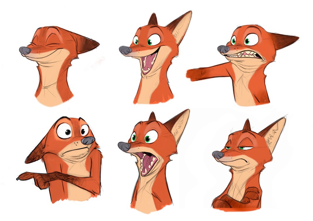Concept art for Nick Wilde, courtesy of Disney