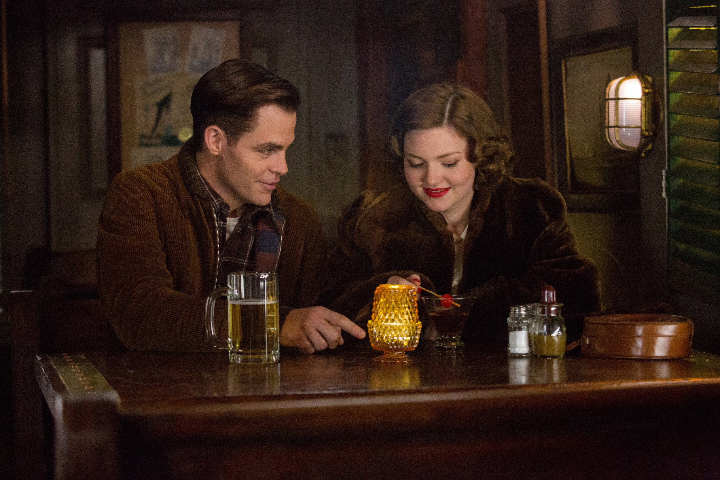 Chris Pine (Bernie Webber) and Holliday Grainger (Miriam) in Disney's 'The Finest Hours.' photo courtesy of Disney.