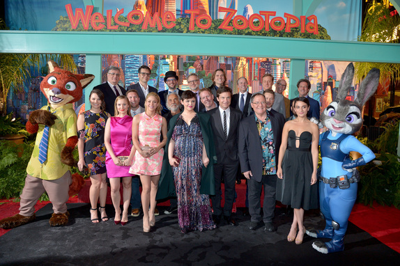 The cast and crew of Disney's Zootopia at the Hollywood Red Carpet Premiere. Photo courtesy of Disney.