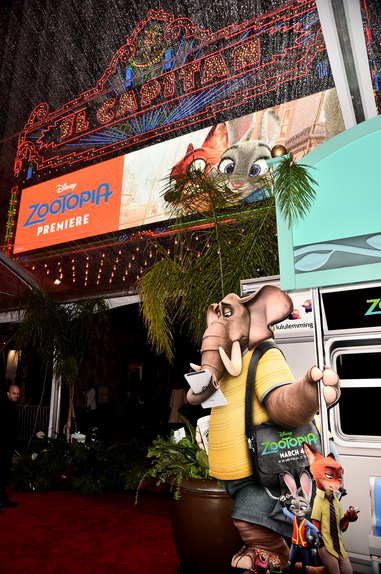 The El Capitan Theatre in Hollywood all decked out for the Zootopia Red Carpet Premiere.