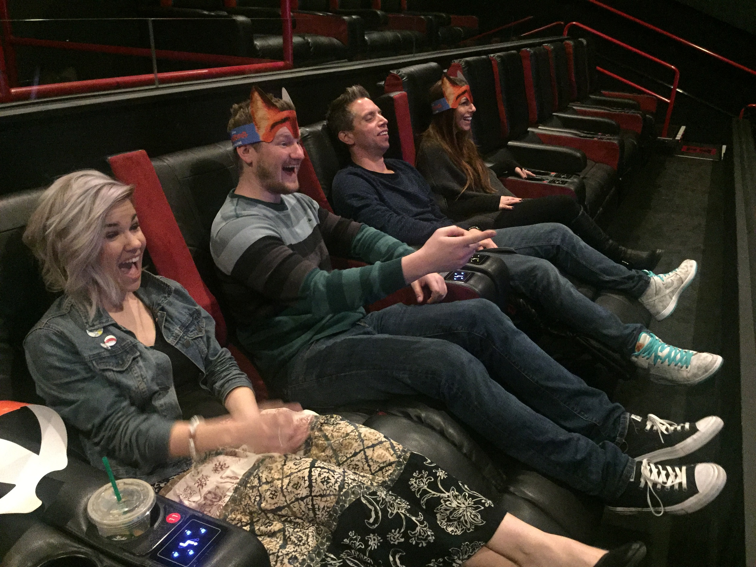 Ticket Winners: Lucy, Marc, Ritchie, and Yael making themselves at home in the cushy recliners.