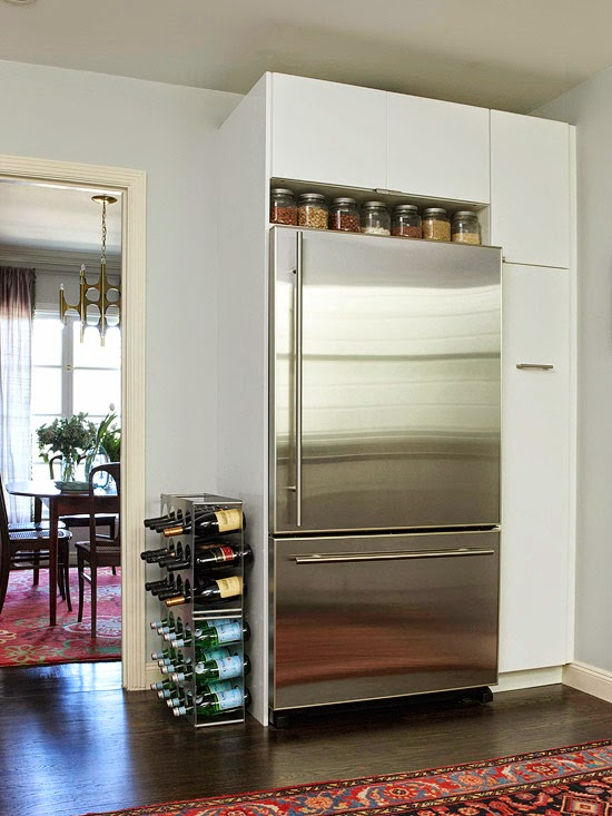 how to maximize the awkward space above the fridge