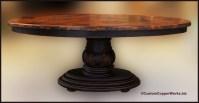 OVAL DINING TABLE; Wood, Pedestal Base, Hand Carved Design ...
