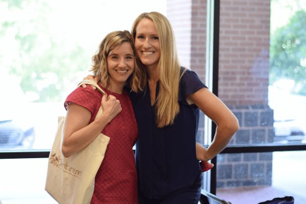 Attendee Jennifer Sanders and Embrace Your Pregnancy co-host Molly England. Photo Credit: Cat Rencken Photography