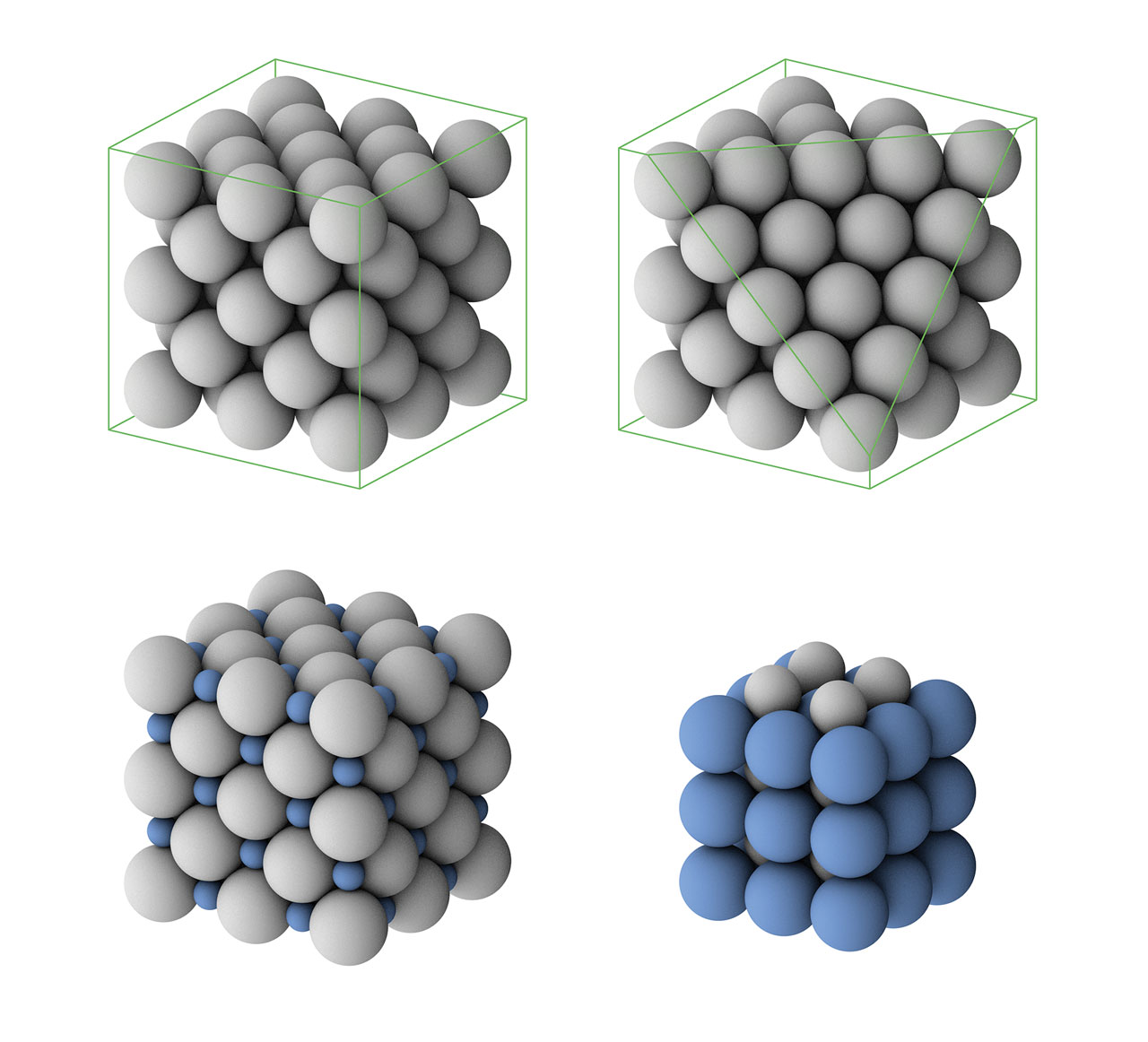 hight resolution of top row one type of close packed structure of equal spheres bottom row