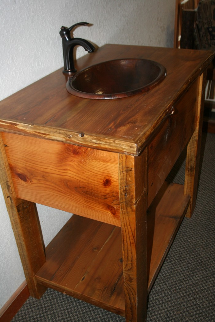 Barn Board Vanity with Log Trim Top  Barn Wood Furniture