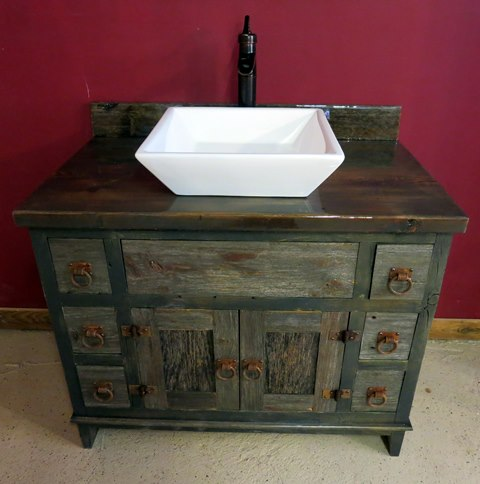 bathroom vanity stools and chairs tulip dining room antique gray barnwood vessel — barn wood furniture - rustic log by ...