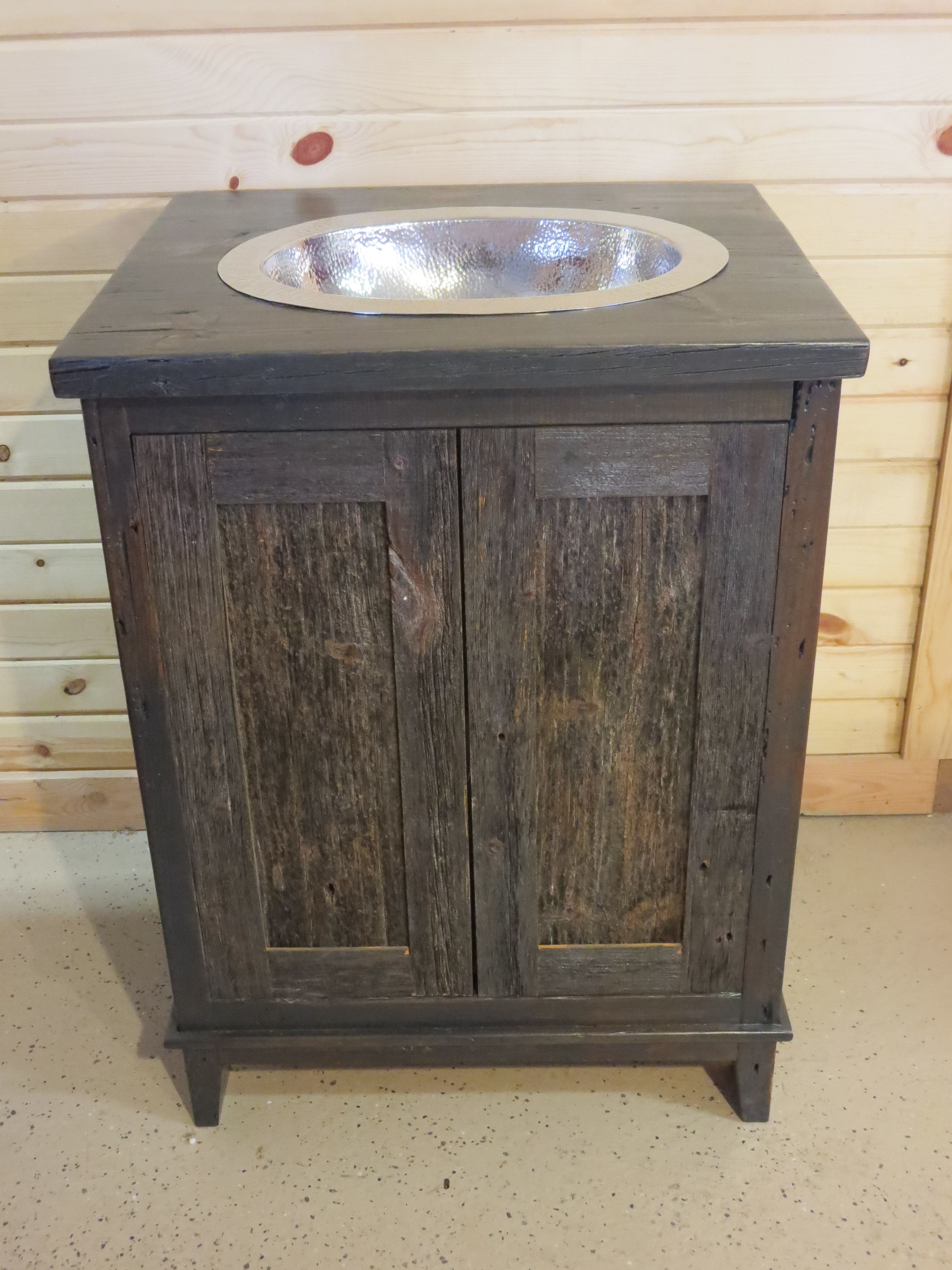 Antique Gray Barnwood Vessel Vanity  Barn Wood Furniture