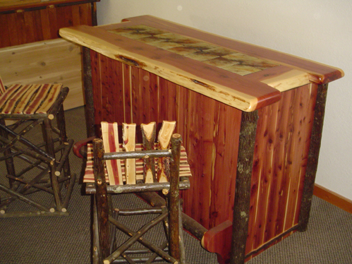 Red Cedar Rustic Bar  Barn Wood Furniture  Rustic