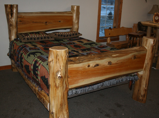 Cedar Log Slab Bed  Barn Wood Furniture  Rustic Barnwood