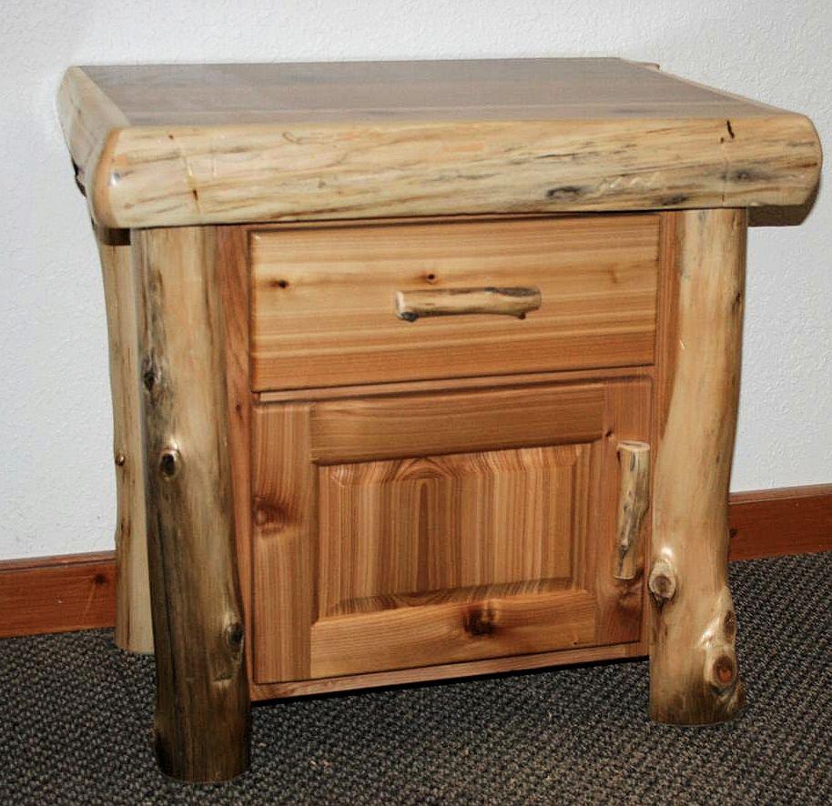 Cedar Log Night Stand Cabinet  Barn Wood Furniture