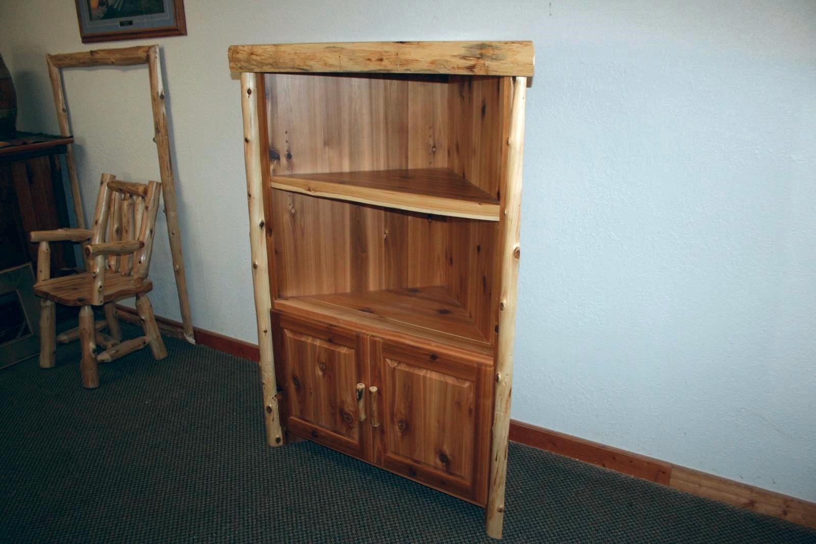 Log Corner Cabinet  Barn Wood Furniture  Rustic Barnwood