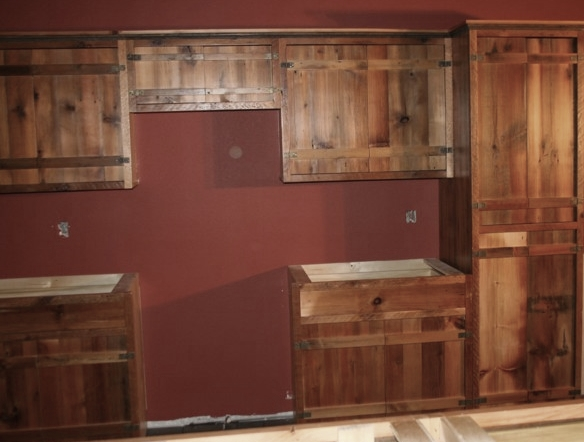 hickory cabinets kitchen garbage bags reclaimed barnwood — barn wood furniture ...