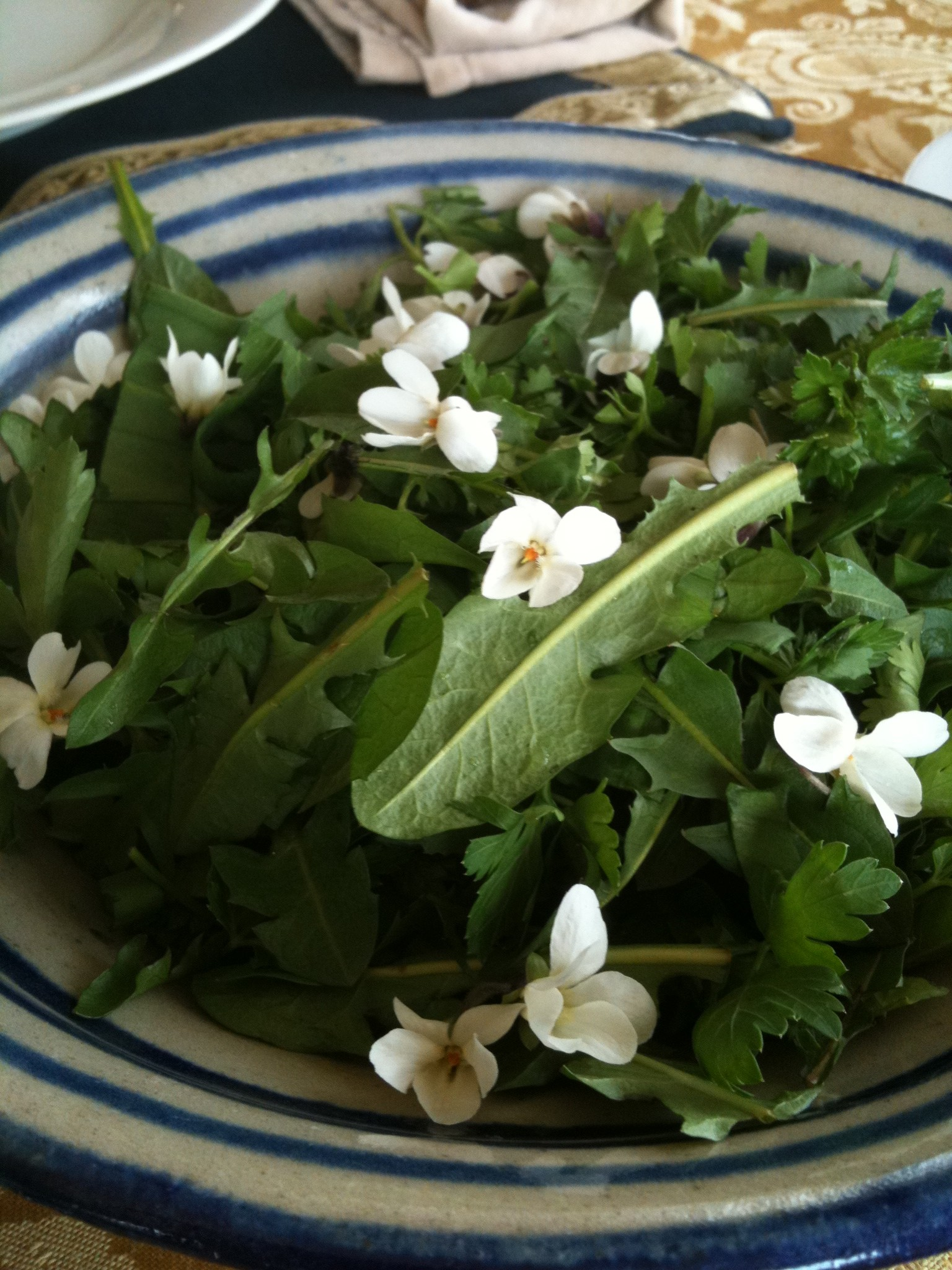 Wild Green Salad topped with Violets