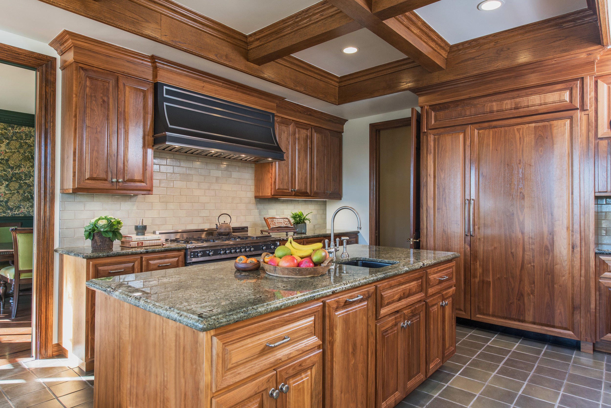 walnut cabinets kitchen ways to conserve water in the sarah barnard design traditional a pacific original oak coffered ceiling was restored complement bespoke american center island is outfitted deep green
