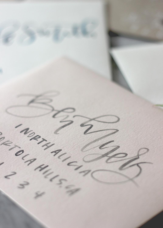 Blush Envelopes With Grey Watercolor Lettering   A Fabulous Fete