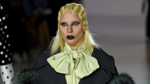 Gaga models Marc Jacobs. (Photo: TIMOTHY A. CLARY, AFP/Getty Images)
