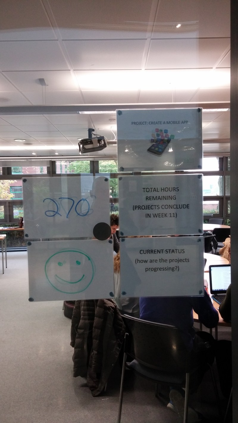 Besides the students using Zoho projects to manage tasks, we have a more low-tech way of updating status.