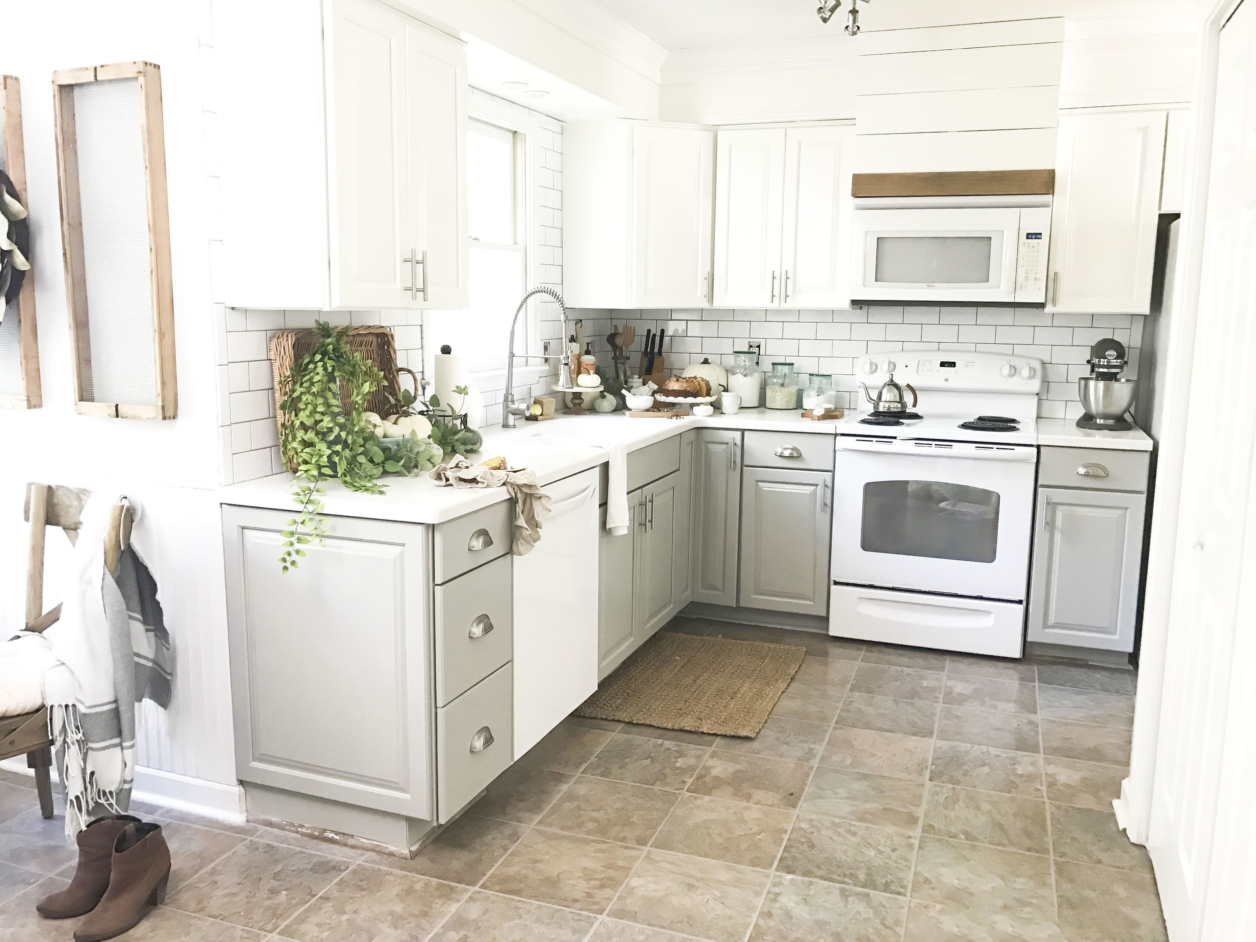 budget kitchen cabinets aqua utensils plum pretty decor design co painted fall home tour inside and