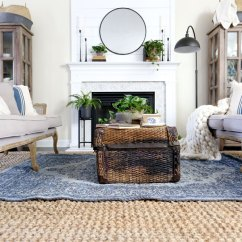 Rugs For Living Room In Home Goods Beach Bungalow Ideas Plum Pretty Decor Design Co Spring Update With Homegoods Layered Chunky Throw And Antique Trunk
