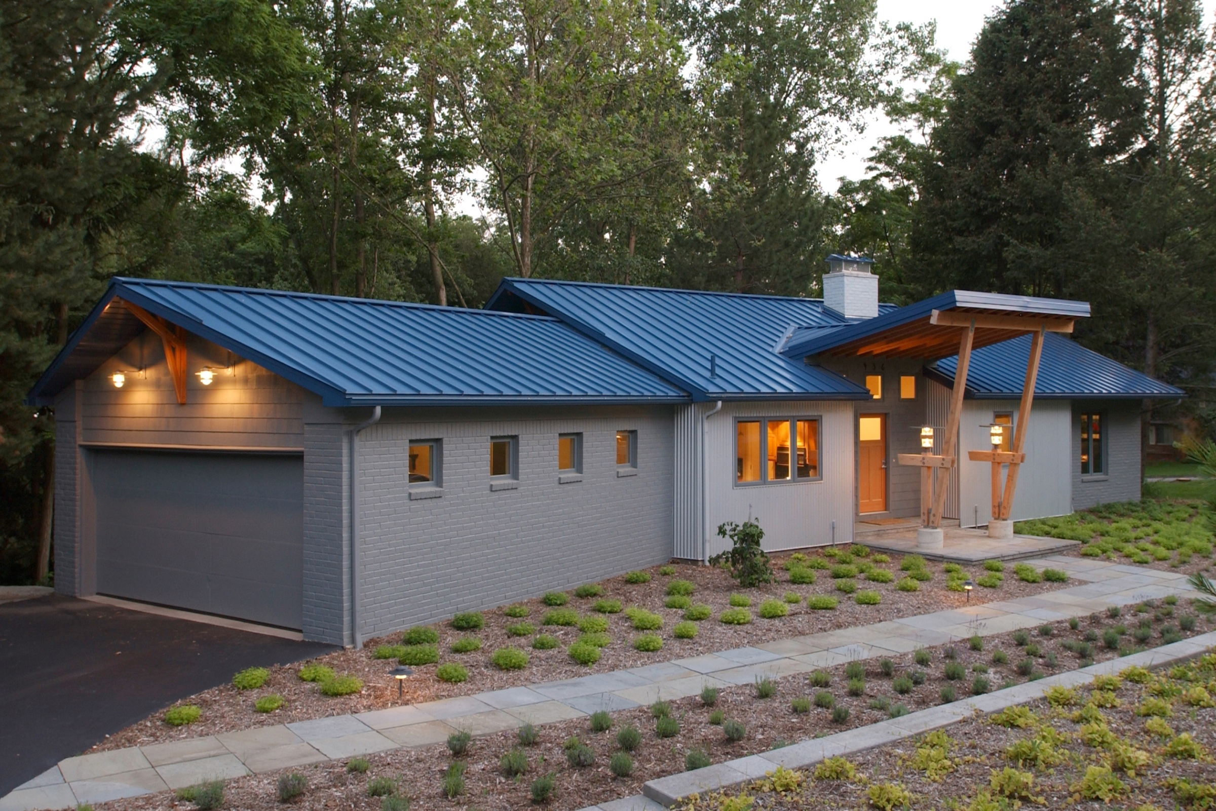 Modern Brick Ranch Exterior Renovation