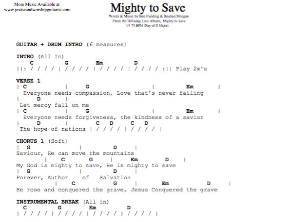 Mighty to Save: G Major — Praise & Worship Guitarist
