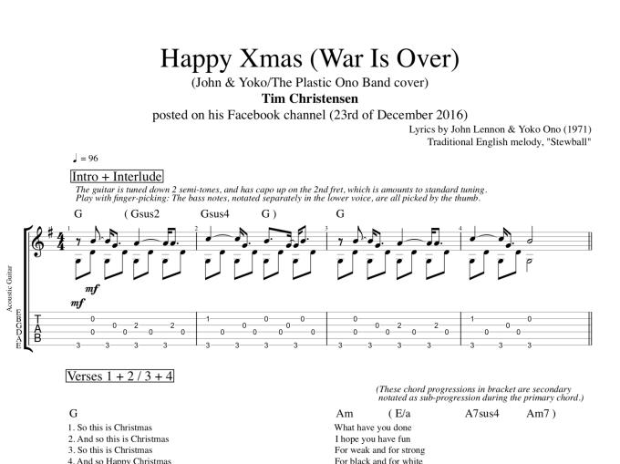 Happy Christmas Lennon Guitar Chords Christmaswalls