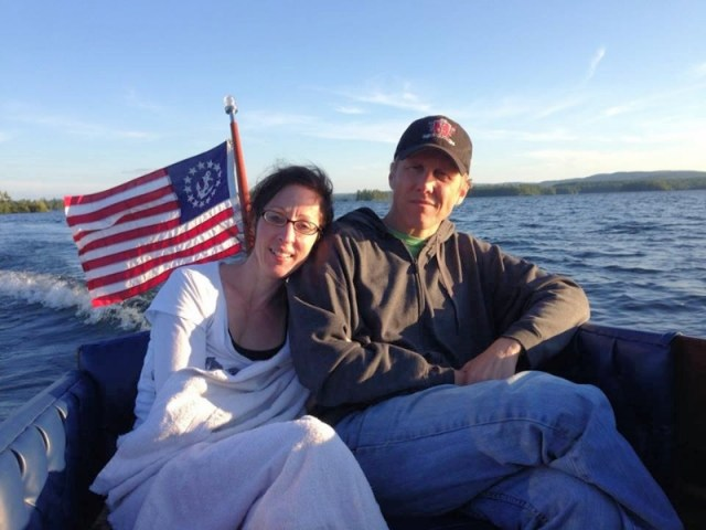 Learning to disagree well is foundational to a good marriage: Here is my lovely wife Christine and I sharing a boat ride.