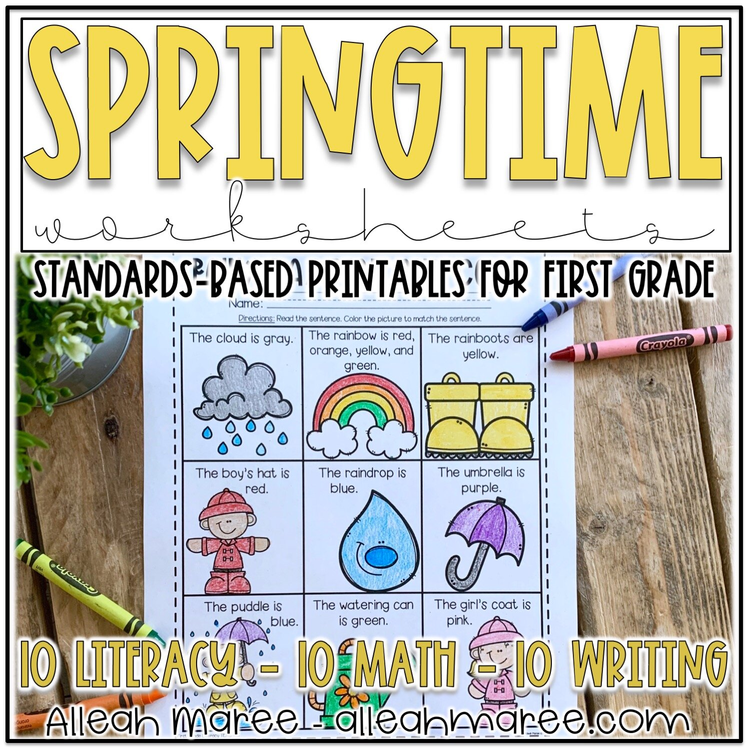Springtime Worksheets for First Grade: Spring Literacy and Math Printables  — Alleah Maree [ 1499 x 1499 Pixel ]