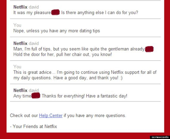 Another example of Netflix's customer support