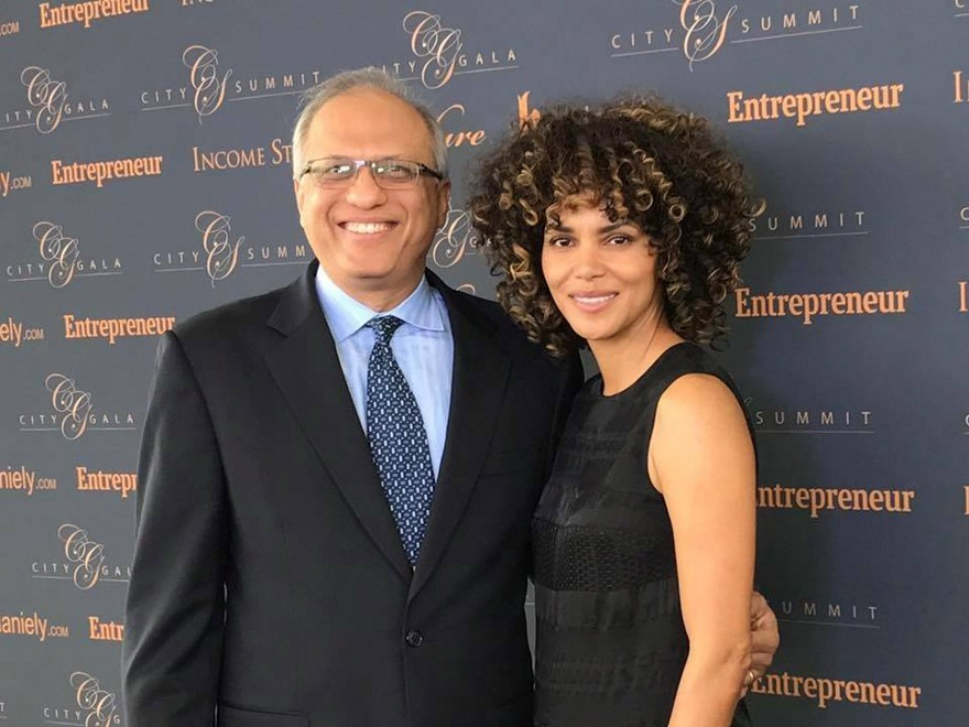 In his element—AJ Jain advancing Feed a Billion with the help of philanthropic-minded celebrities such as Halle Berry (Image Courtesy of City Summit and Gala 2017)