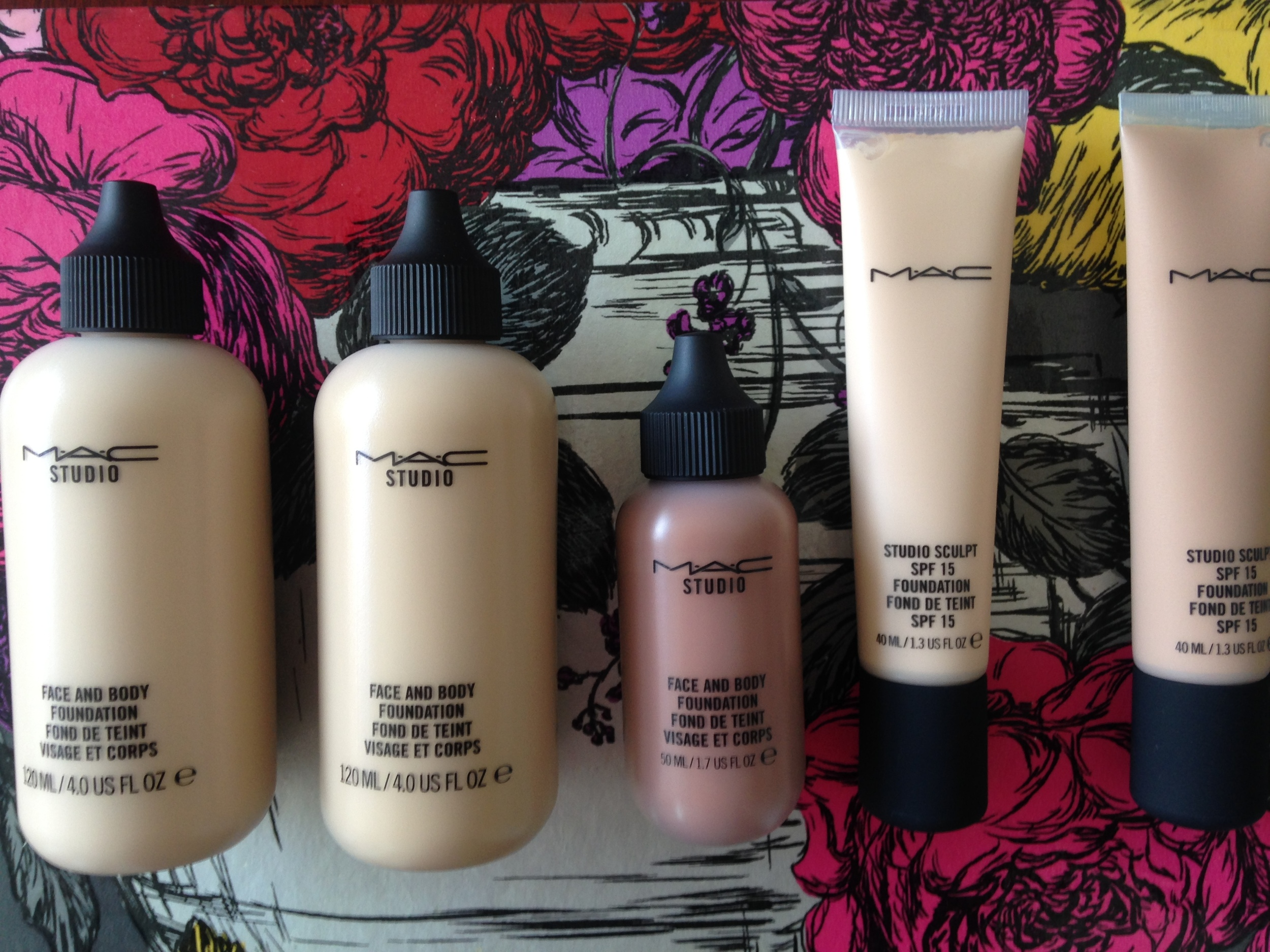 (l-r) Face and Body Foundation in C1, C3 and N9. Studio Sculpt Foundation in NC15 and NW25
