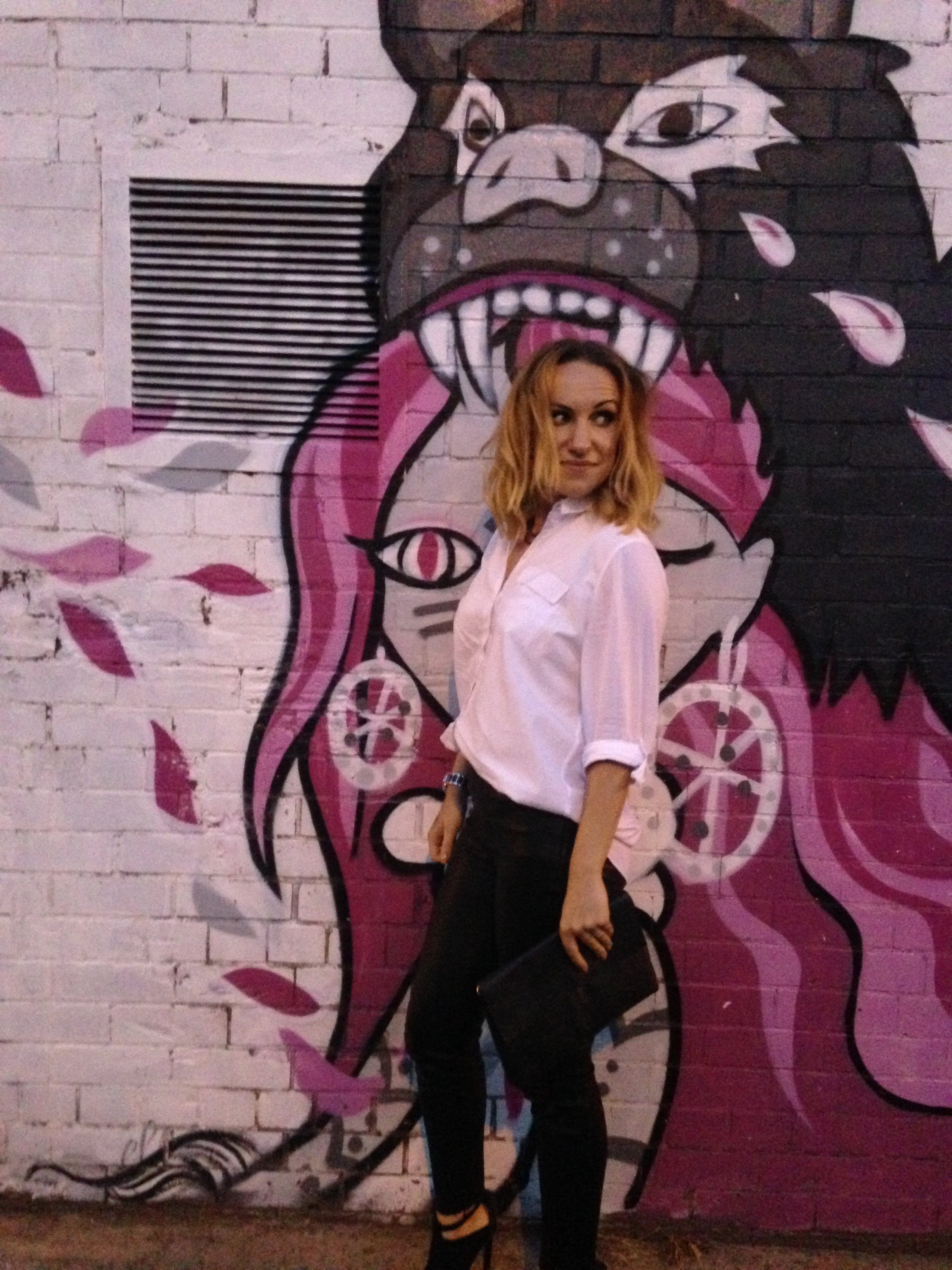 Faux leather leggings from Zara with white Miss Selfridge shirt and Urban Outfitters shoes