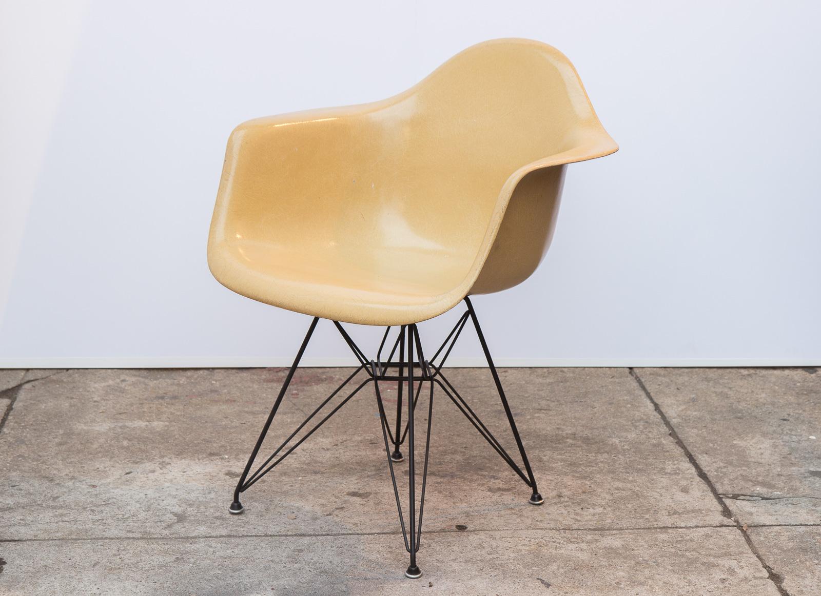 eames arm chair black and white dining chairs butterscotch armchair shell on eiffel base oam open air modern fiberglass shells for herman miller 2 jpg
