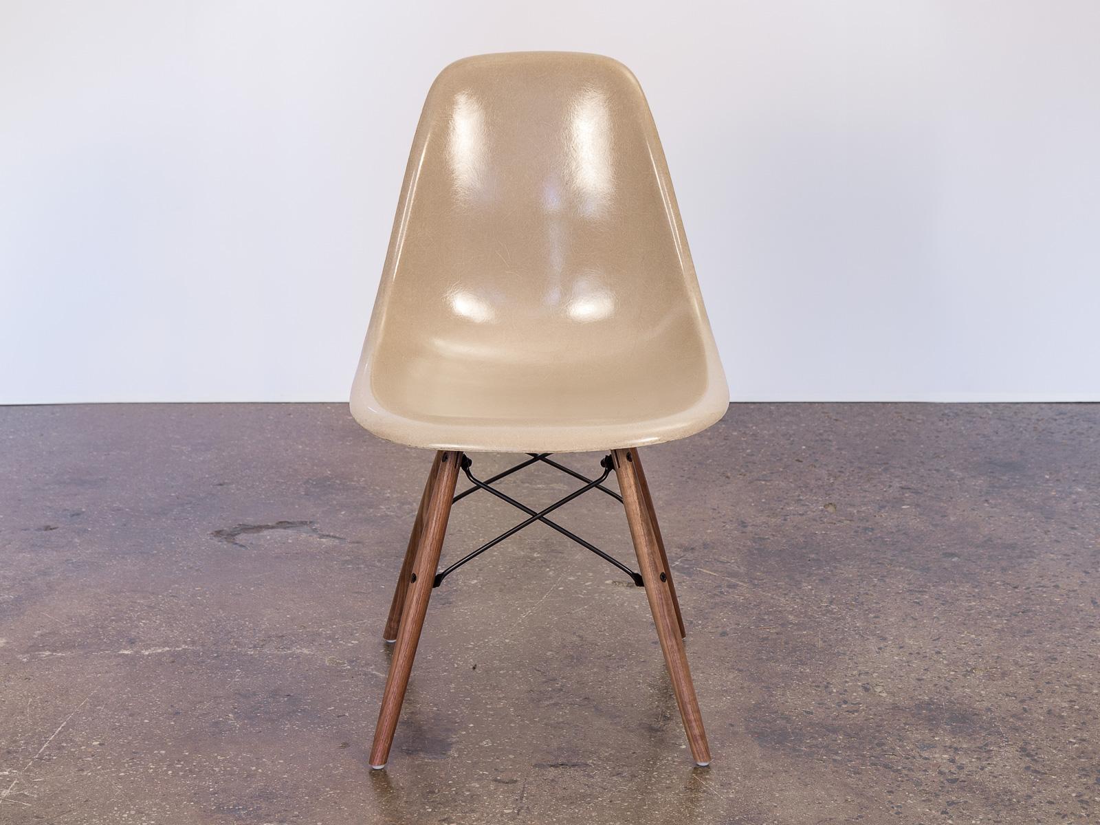 fiberglass shell chair queen design greige eames chairs on walnut dowel base oam