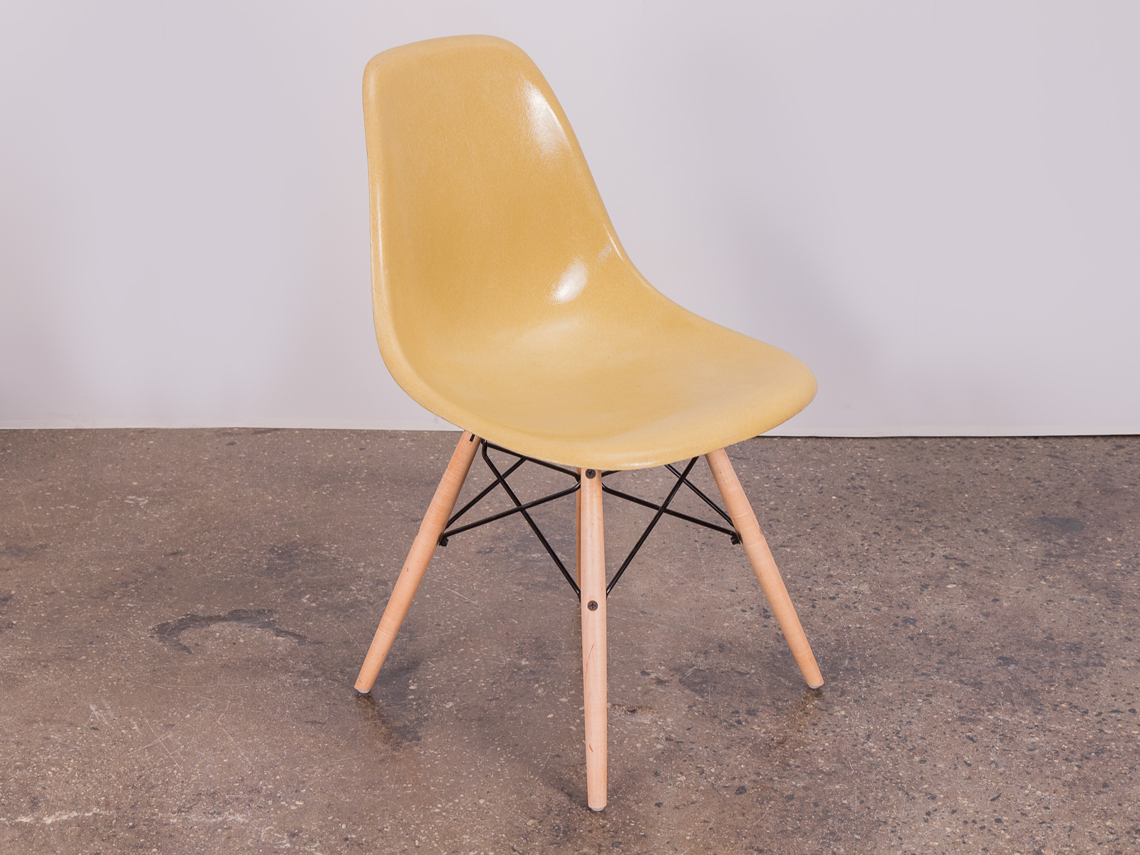 Herman Miller Shell Chair Straw Mustard Eames Shell Chairs On Maple Dowel Base