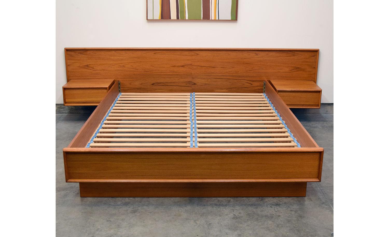 Danish Teak Queen Platform Bed With Floating Nightstands Sold Vintage Modern Maine