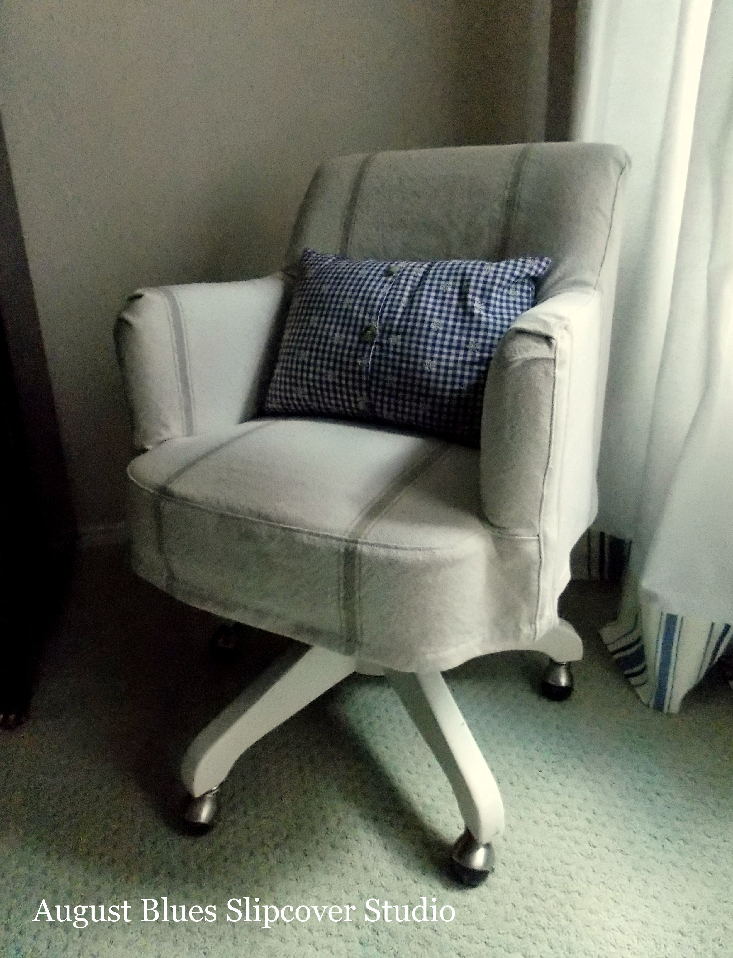 Grain Sack Chair Grain Sack Desk Chair Slipcover August Blues