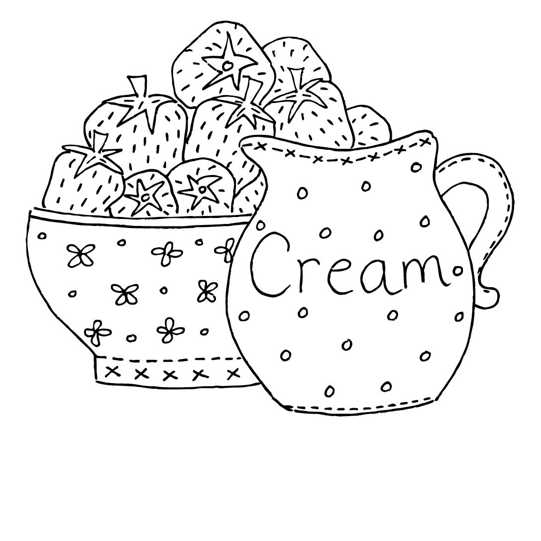 Strawberries and Cream Iron-on Transfer — Dandelion Designs