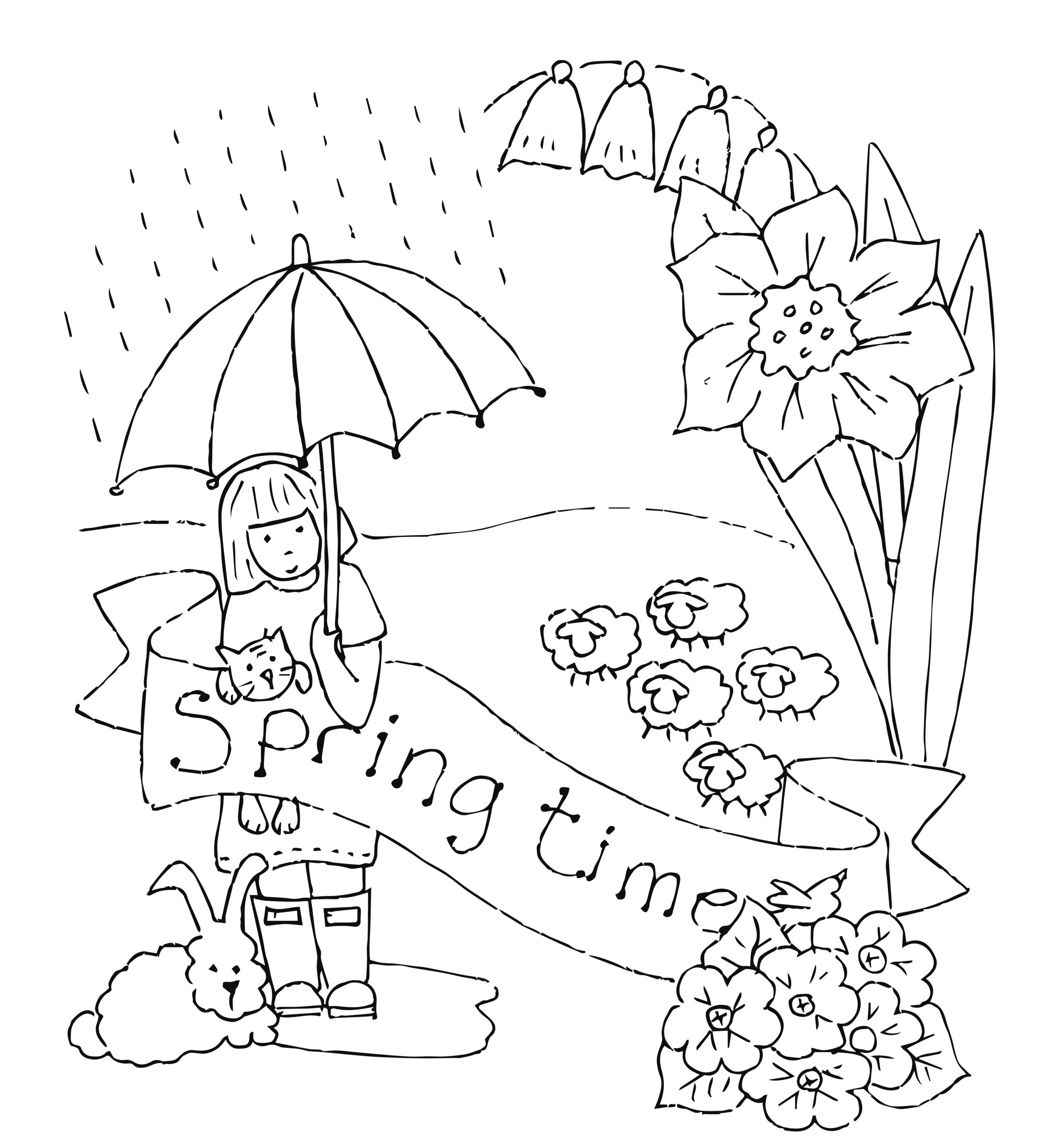 Spring Time Redwork Iron On Transfer — Dandelion Designs