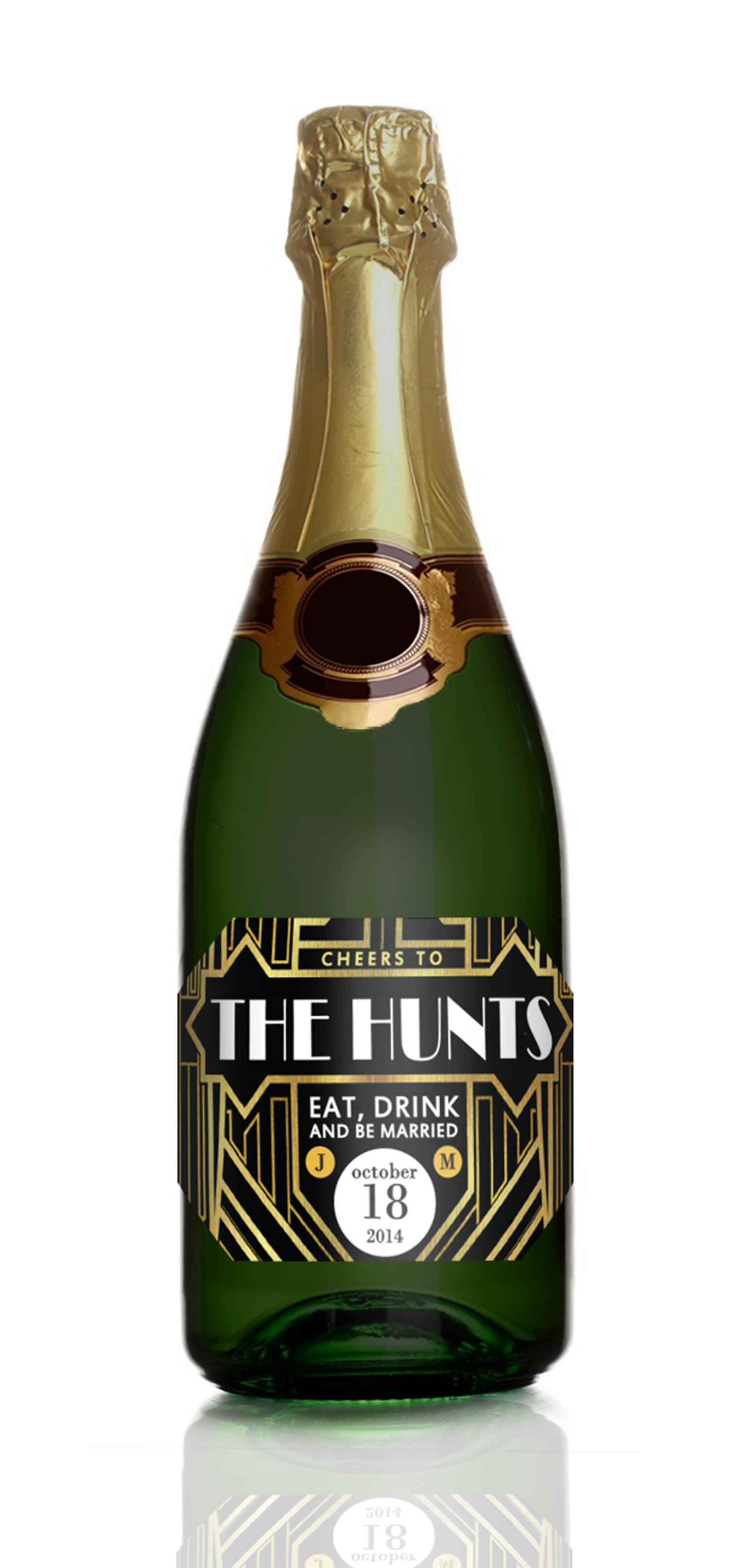 1920s Great Gatsby Mini Champagne Labels  Wedding Favors  STUDIO B LABELS
