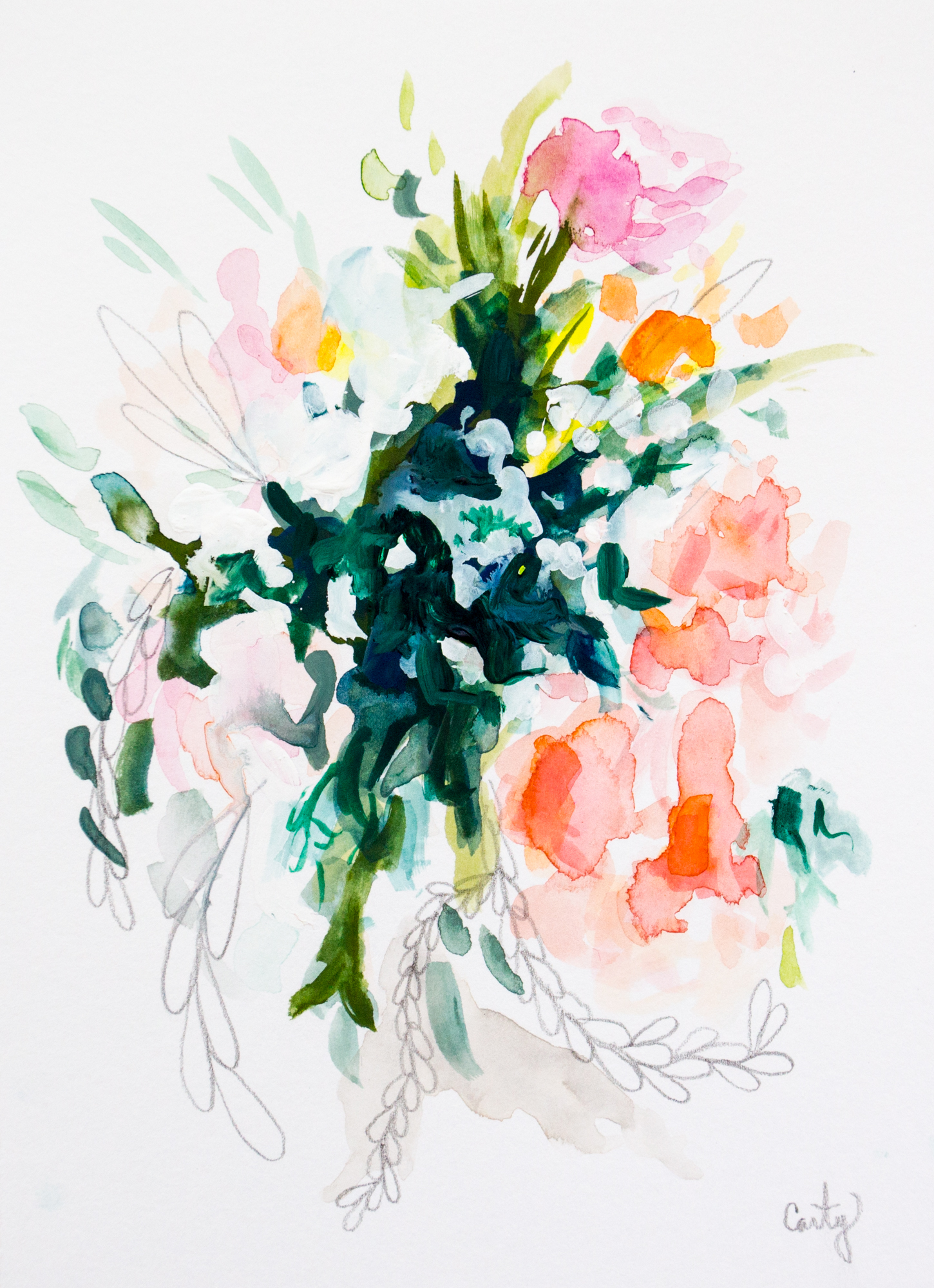 spring league 5x7 abstract