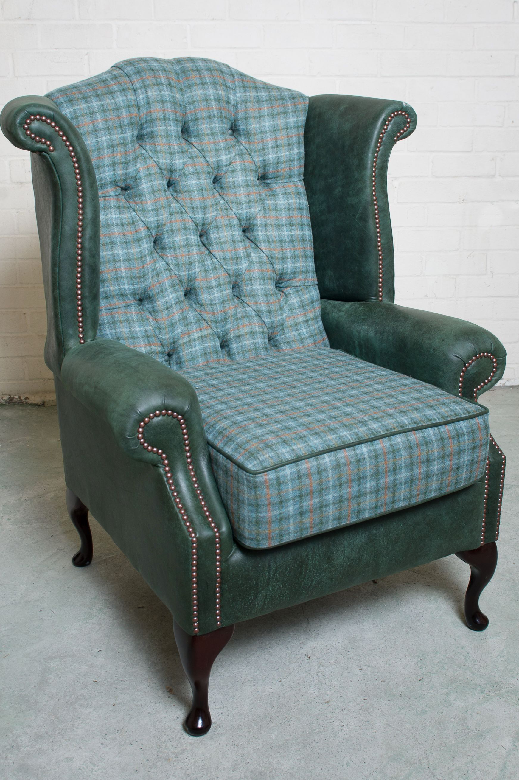 Teal Wingback Chair Vintage Leather Tweed Wingback Chair