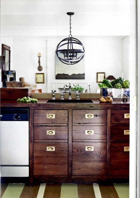brass kitchen hardware server revival rachel halvorson designs i love the juxtaposition of rustic wood and shiny also see how he didn t try to match faucet with everything follow his lead
