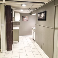 Spray Paint Kitchen Cabinets Refacing Cost $1000 Diy Basement Renovation — First Thyme Mom