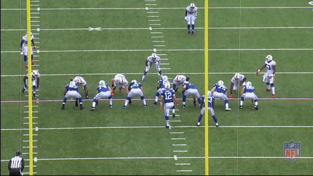 Here is a variation from Rex' play-book vs. 12 personnel. It is a 6-1 umbrella look. This is essentially a 4-3 defense. Bradham and Lawson can drop into coverage.